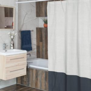 Color Block Linen Shower Curtain