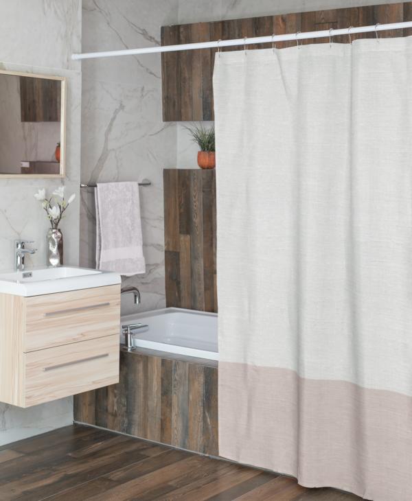 Linen Color Block Shower Curtain