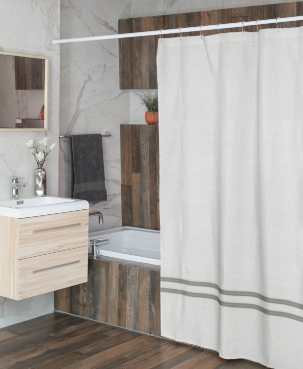 White and light gray linen shower curtain