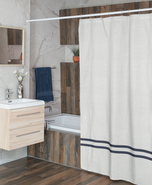 White and Navy Linen Shower Curtain