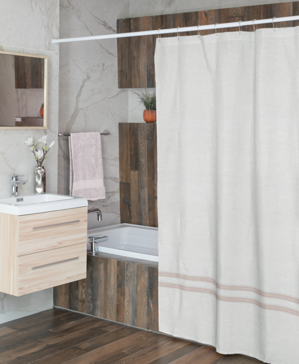 White Linen with Pink Shower Curtain