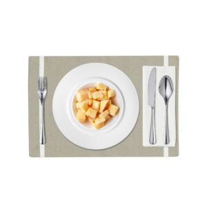 Slate and White Linen Placemat
