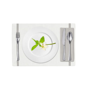 White and Light Gray Linen Placemat