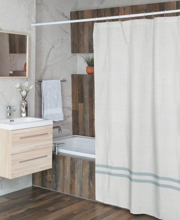 White and Light Blue Linen Shower Curtain