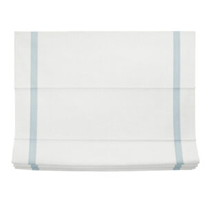 White with light blue linen roman shade