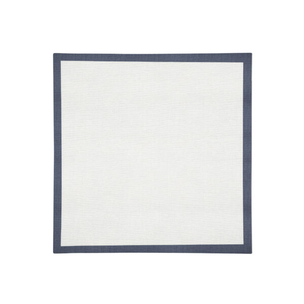 White with navy Linen Napkin Flat